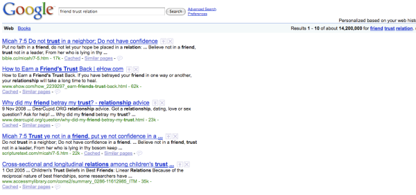 Google search - friend